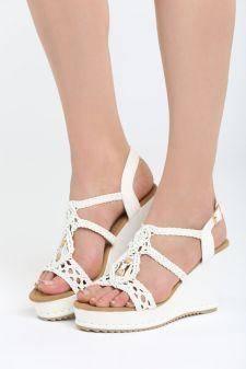 Sandale cu platforma Camerota Albe