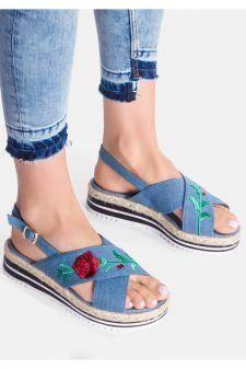 Sandale cu platforma Eliza Albastre