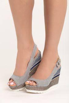 Sandale cu platforma Elodie Gri