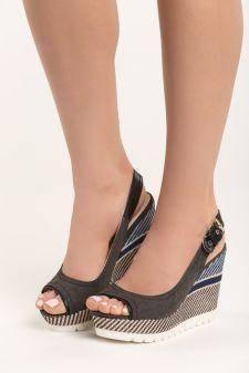 Sandale cu platforma Elodie Negre