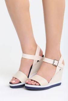 Sandale cu platforma Ermitas Bej