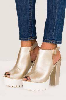 Sandale cu platforma Juanita Aurii