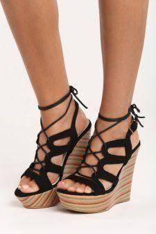 Sandale cu platforma Lotus Negre