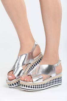 Sandale cu platforma Melado Argintii