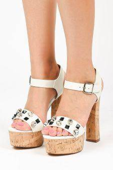 Sandale cu platforma Metsovo Albe