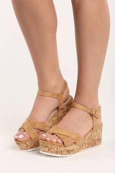 Sandale cu platforma Nora Camel