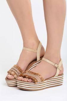 Sandale cu platforma Placilla Bej 1