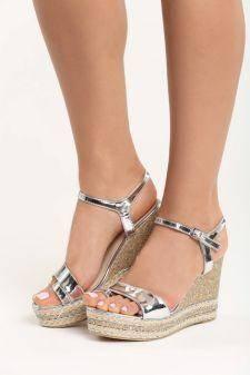 Sandale cu platforma Stone Argintii