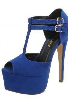 Sandale cu platforma inalta de culoare albastra