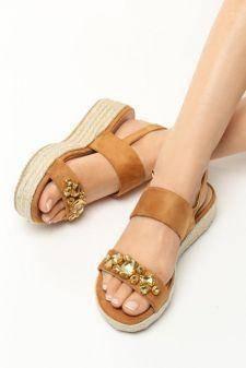 Sandale cu semiplatforma Viviana Camel