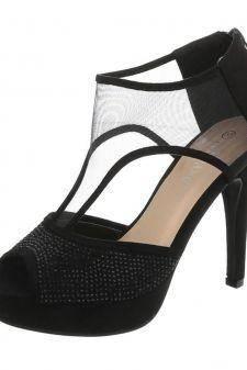 Sandale cu strasuri delicate si insertie transparenta
