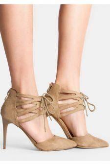 Sandale cu toc Caraline Kaki