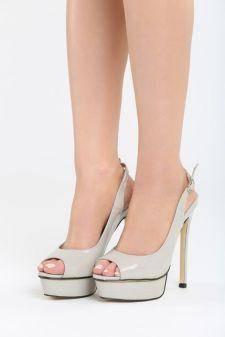Sandale cu toc Engorda Gri