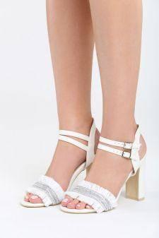 Sandale cu toc Escuina Albe