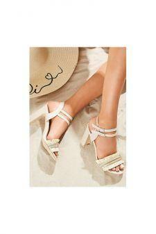 Sandale cu toc Escuina Bej