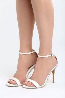 Sandale cu toc Espinaza Albe