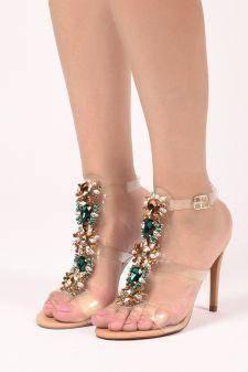 Sandale cu toc Lecce Albe fildes