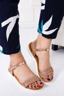 Sandale dama Ailayn aurii cu talpa joasa