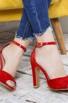 Sandale dama Aimee rosii cu toc gros