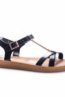 Sandale dama Barsia negre cu talpa joasa