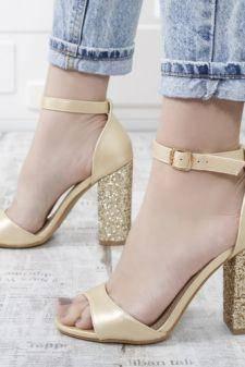 Sandale dama Baselici aurii cu toc gros