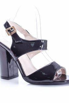 Sandale dama Corette negre cu toc gros