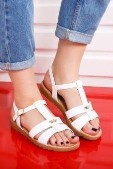 Sandale dama Covila albe cu talpa joasa