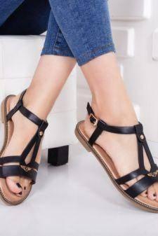 Sandale dama Esolo negre cu talpa joasa