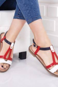 Sandale dama Esolo rosii cu talpa ortopedica