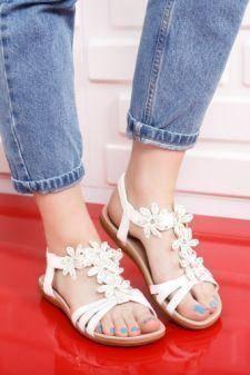 Sandale dama Flania albe cu talpa joasa