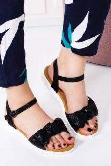Sandale dama Labini negre cu talpa joasa