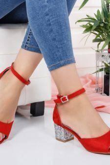 Sandale dama Mabey rosii cu toc gros