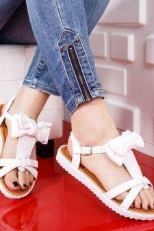 Sandale dama Mamily albe cu talpa joasa