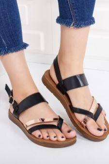 Sandale dama Mifres negre cu talpa joasa