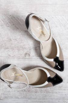 Sandale dama Piele Nuran bej cu negru