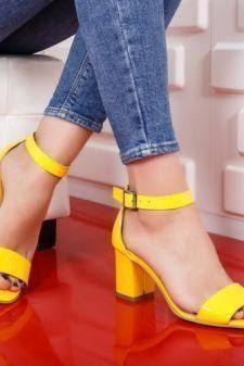 Sandale dama Piele Vabitili galbene cu toc gros