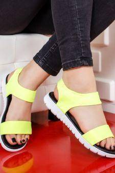 Sandale dama Sokeli galbene neon cu talpa joasa