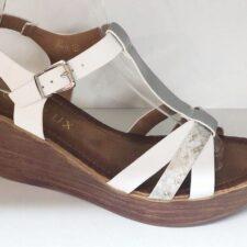 Sandale dama alb cu argintiu Fatima