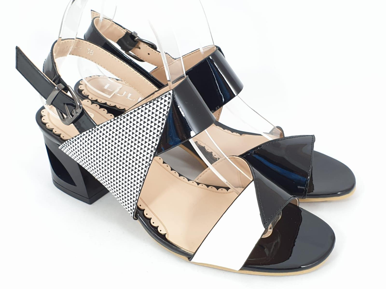 Sandale dama alb cu negru Dorina