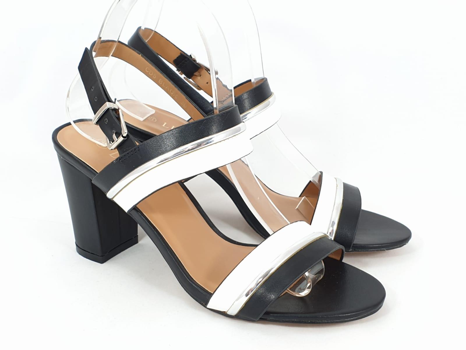 Sandale dama alb cu negru si argintiu Ioana