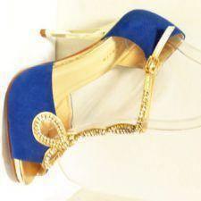 Sandale dama albastre cu auriu
