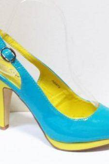 Sandale dama albastre cu insertii de galben