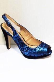 Sandale dama albastre cu insertii de negru