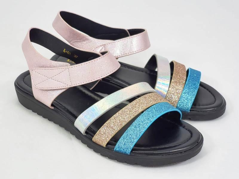 Sandale dama albastre cu roz Alina
