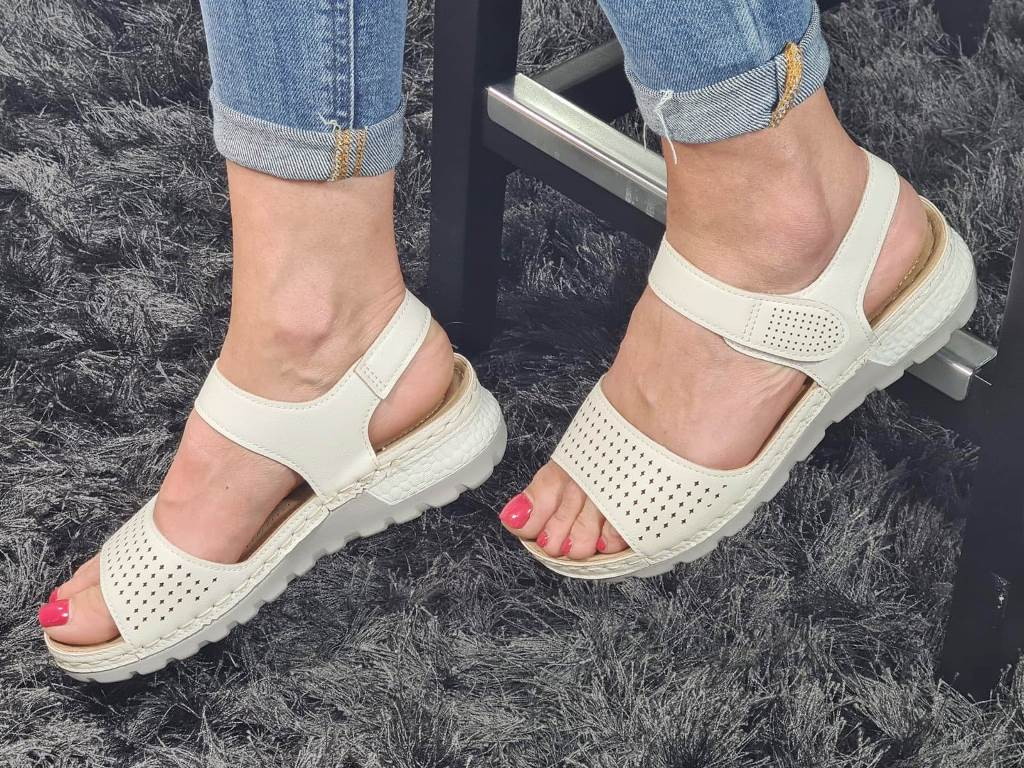 Sandale dama albe Polina