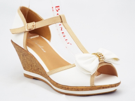 Sandale dama albe cu bej