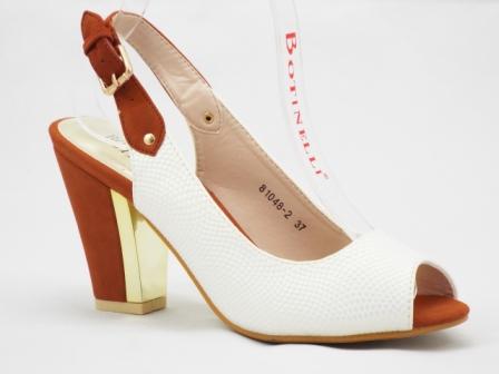 Sandale dama albe cu parti de culoare maro