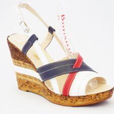 Sandale dama albe cu rosu si albastru