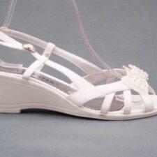 Sandale dama albe din lac cu talpa ortopedica