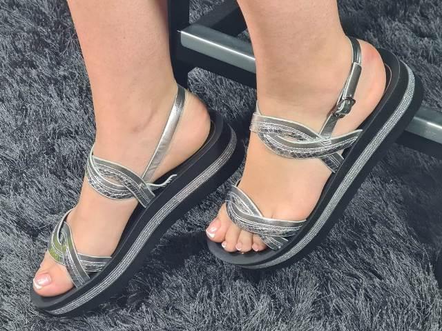 Sandale dama argintii Delia